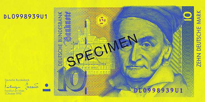 10 Deutsche Mark banknote frontside