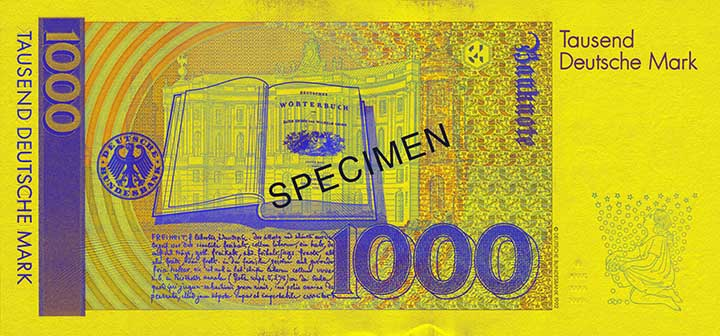 1,000 Deutsche Mark banknote backside