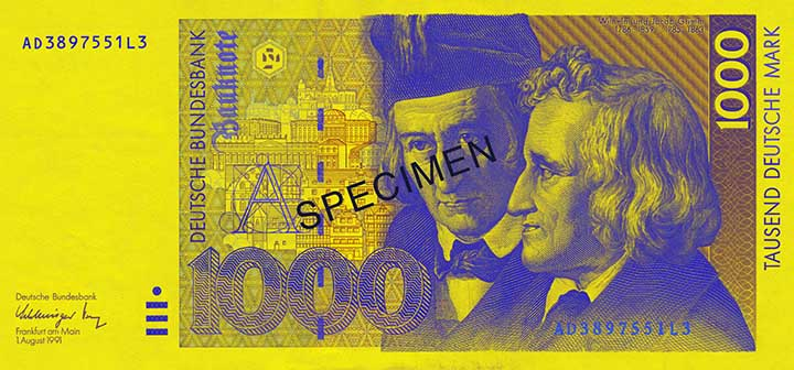 1,000 Deutsche Mark banknote frontside