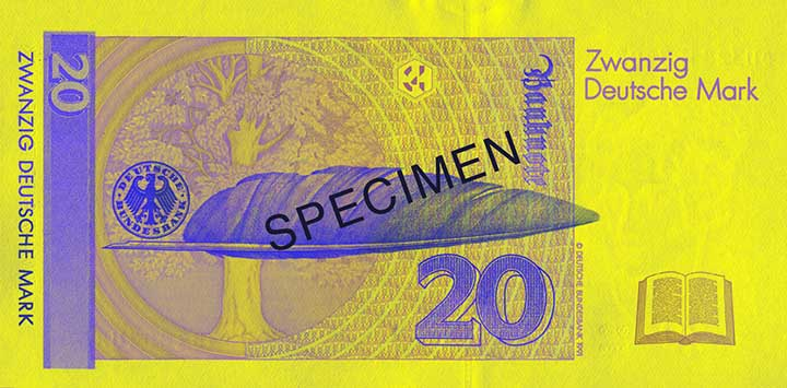 20 Deutsche Mark banknote backside