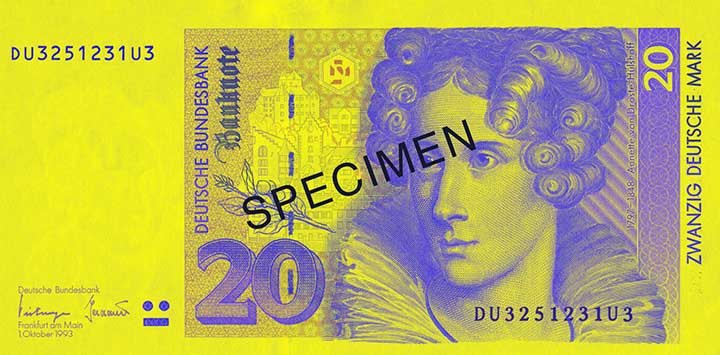 20 Deutsche Mark banknote frontside
