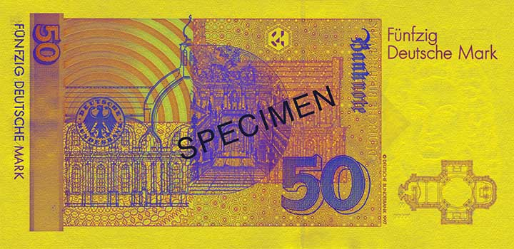 50 Deutsche Mark banknote backside