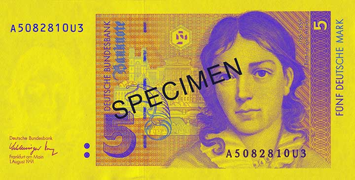 5 Deutsche Mark banknote frontside