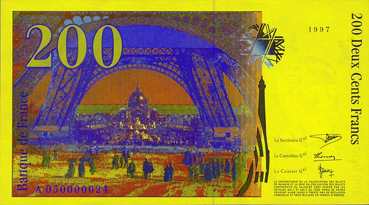 200 French franc banknote backside