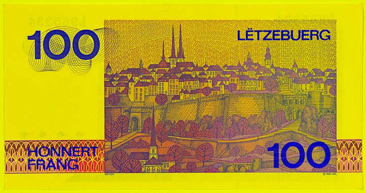 100 Luxembourg franc banknote frontside