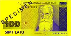 100 lats banknote frontside