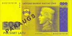 500 lats banknote frontside