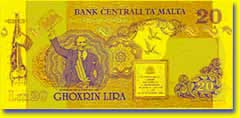 20 Maltese lira banknote backside