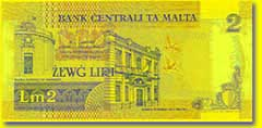 2 Maltese lira banknote backside
