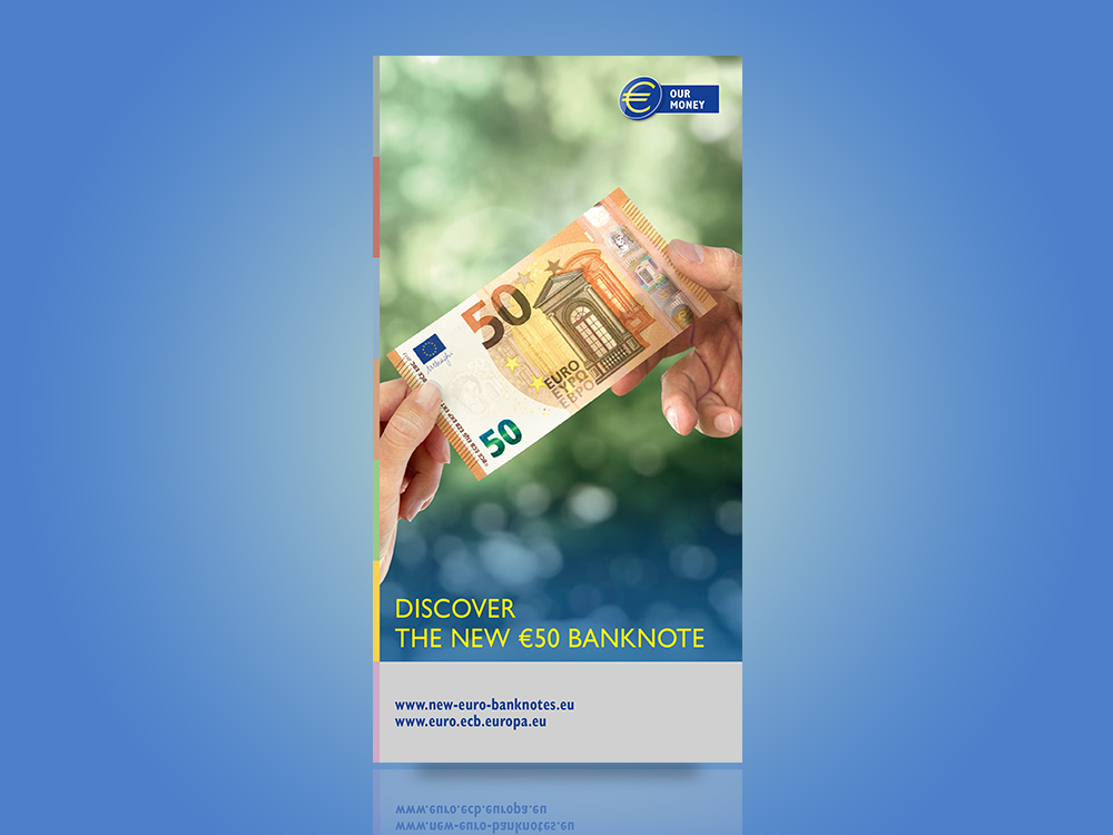 Leaflet for professional cash handlers on the security features of the first series of euro banknotes and the Europa series €5, €10, €20 and €50 banknotes.