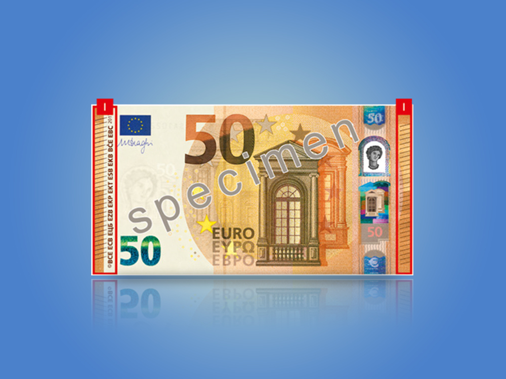 Card that shows the security features of the Europa series €50 banknote when tilted.