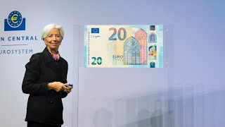 Christine Lagarde, President of the ECB, signing the euro banknotes, 28 November 2019